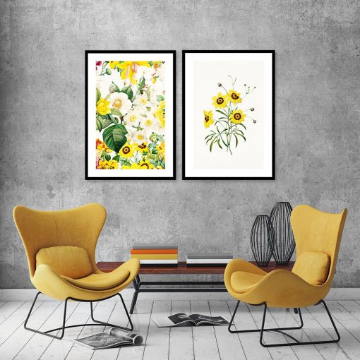 plakat dyptyk żółte kwiaty