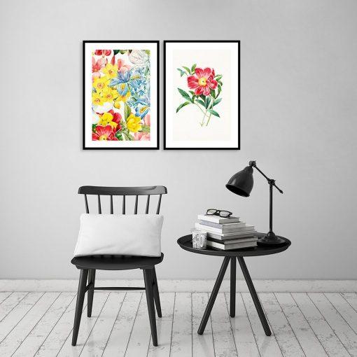 plakat żółty czerwony kwiaty