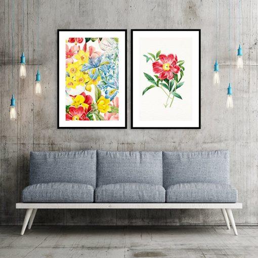 plakat dwuczęściowy w kwiaty