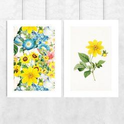 plakat podwójny w żółte kwiaty