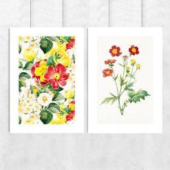 plakat dyptyk czerwone żółte kwiaty