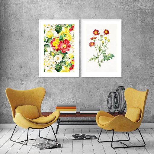 podwójny plakat w kwiaty do salonu