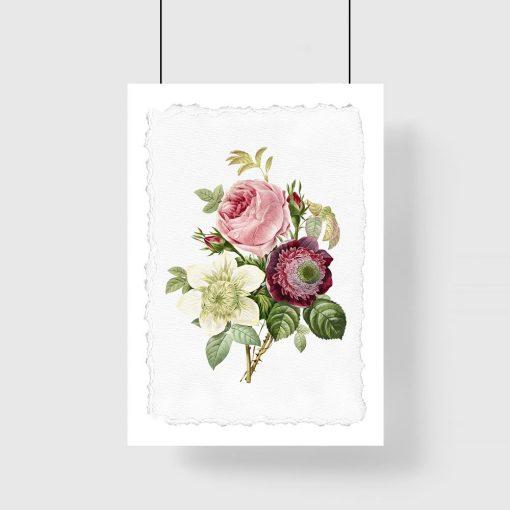 plakat w różowe kwiaty