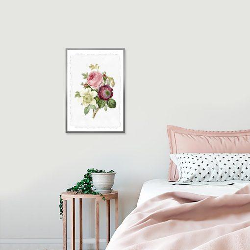 plakat różowe kwiaty do sypialni