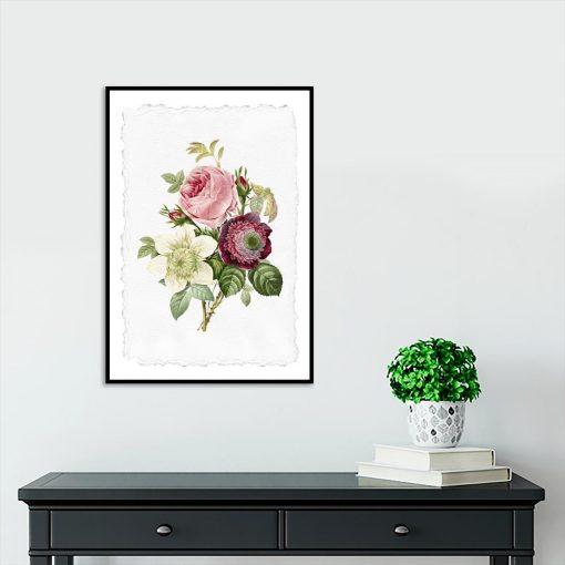 bukiet różowych kwiatów na plakacie