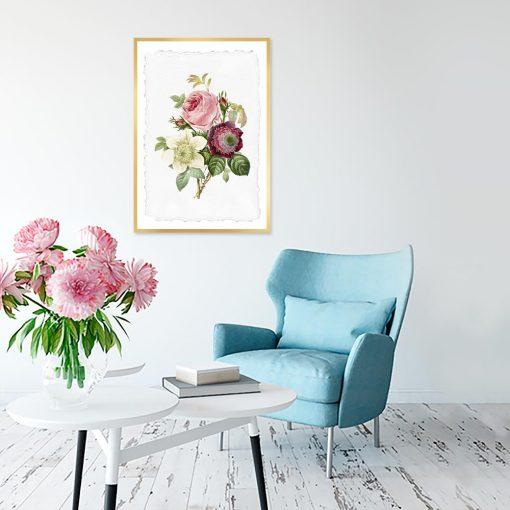 plakat w kwiaty do salonu