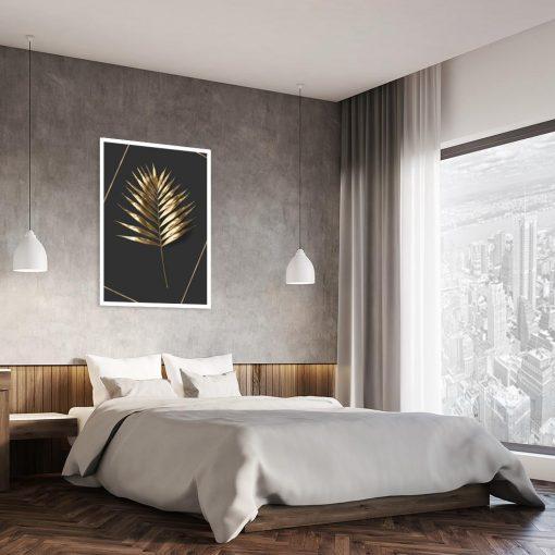 plakat z liściem palmy nad łóżko
