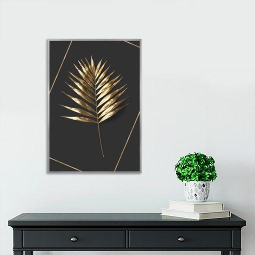plakat złoty liść na czarnym tle