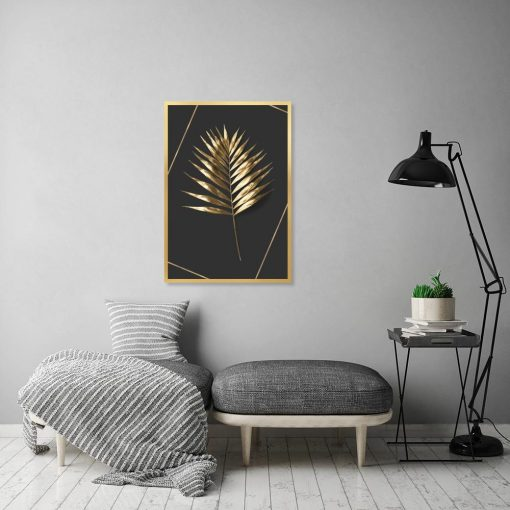 plakat z motywem liścia palmy