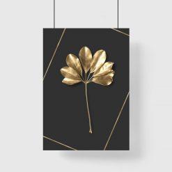 plakat ze złotym motywem liścia