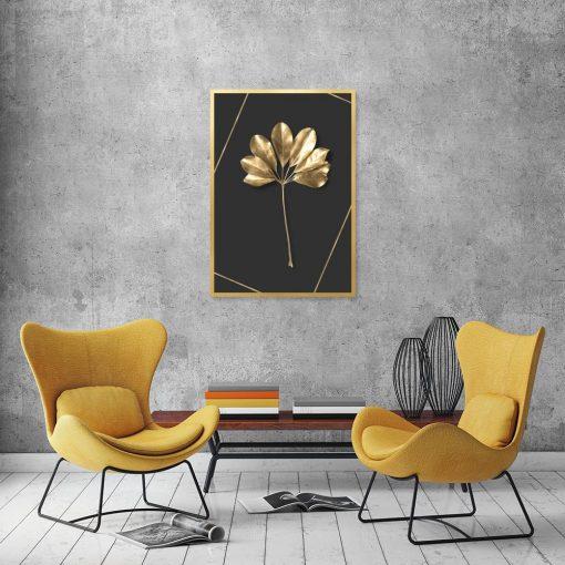 czarny plakat ze złotym motywem roślin