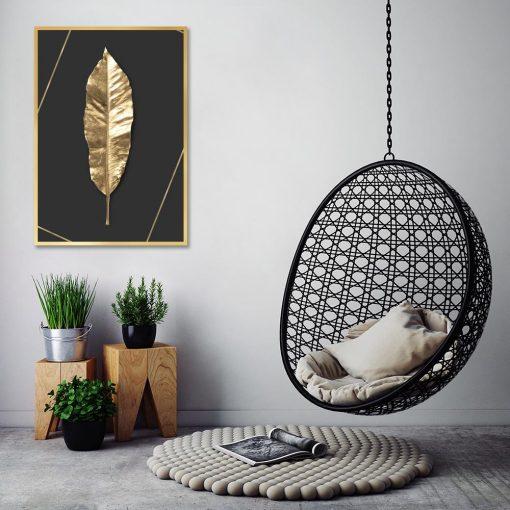 złoty liść czarny plakat