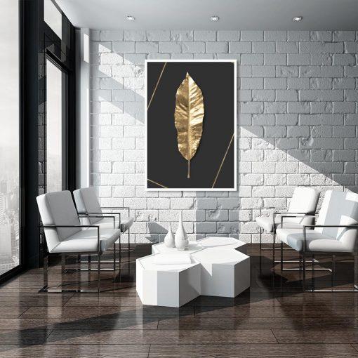 czarny plakat ze złotym liściem