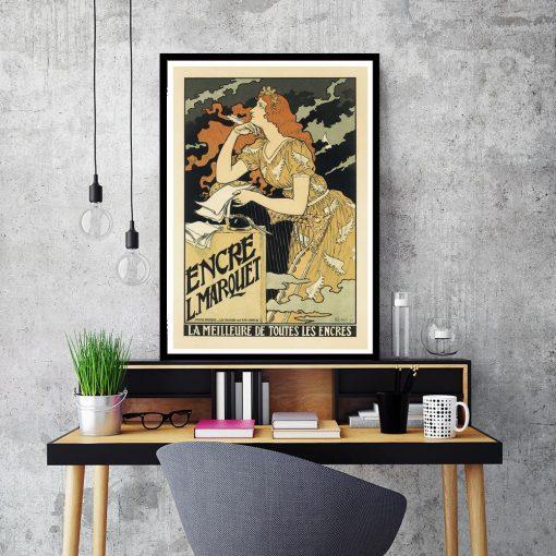 plakat z kobietą i harfą