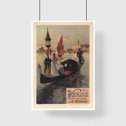 plakat retro z wenecką gondolą