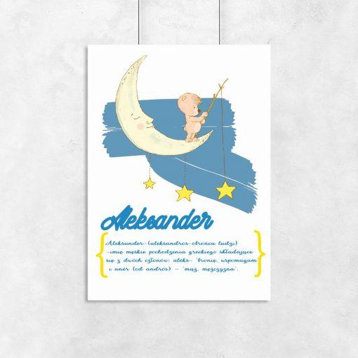 plakat z misiem na księżycu gwiazdami i imieniem