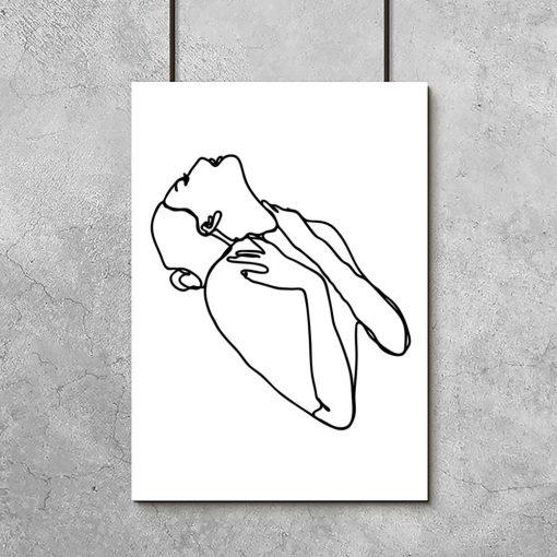 plakat minimalistyczny ze szkicem kobiety