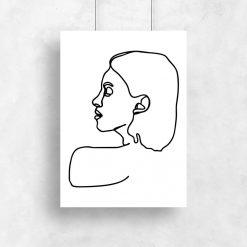 plakat minimalistyczny szkic lewego profilu twarzy