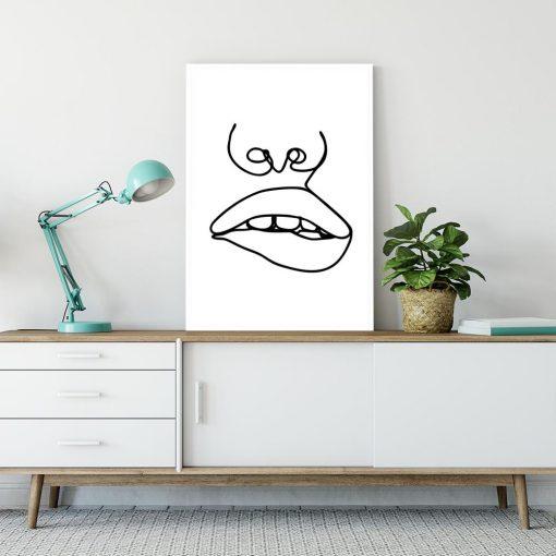 usta i nos na plakacie minimalistycznym