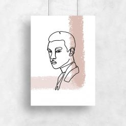 plakat z rysunkiem twarzy mężczyzny