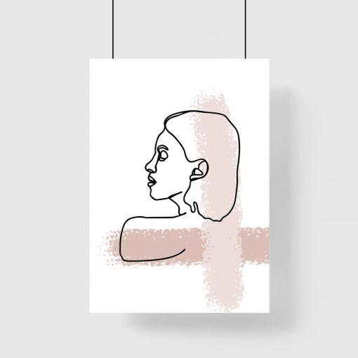 plakat szkic kobieca twarz i beżowe smugi