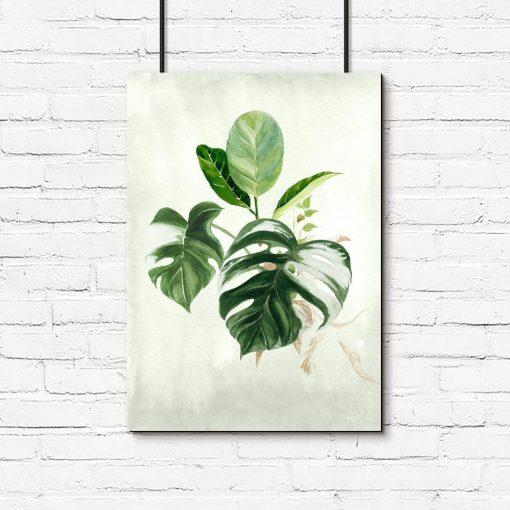 plakat zielony z liśćmi