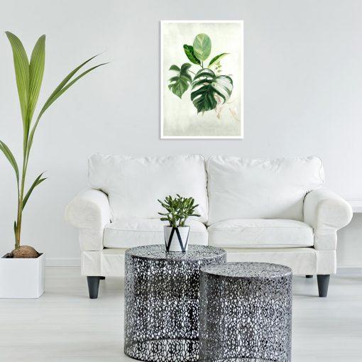 plakat z liściem do salonu
