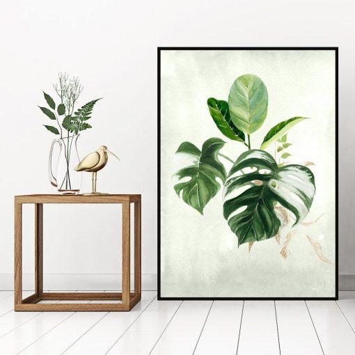plakat z liśćmi