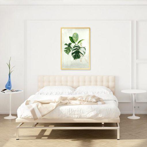 plakat z motywem roślinnym do sypialni