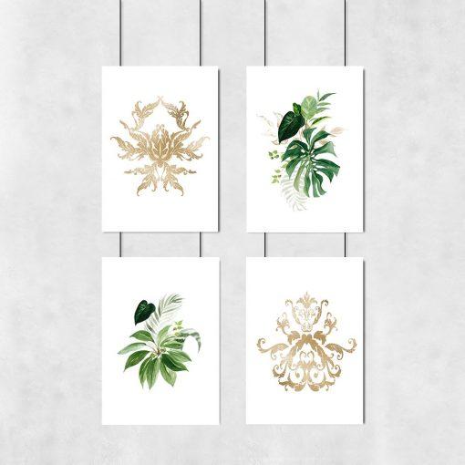 zestaw plakatów zielono-złoty