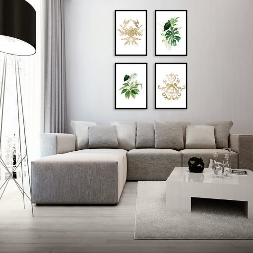 zestaw plakatów z liśćmi do salonu