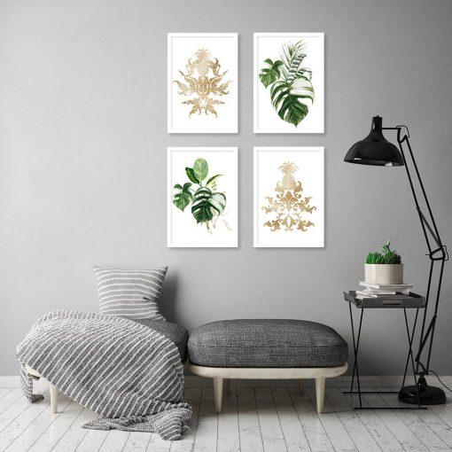 liście i złote wzory na plakacie