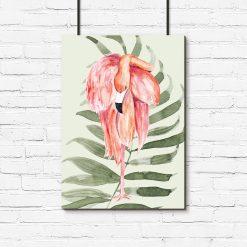 plakat z różowym flamingiem na zielonym tle