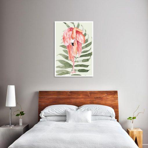 plakat z flamingiem na ściany w sypialni