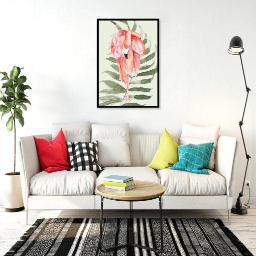plakat z flamingiem do salonu