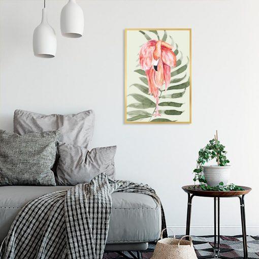 plakat z motywem flaminga do sypialni