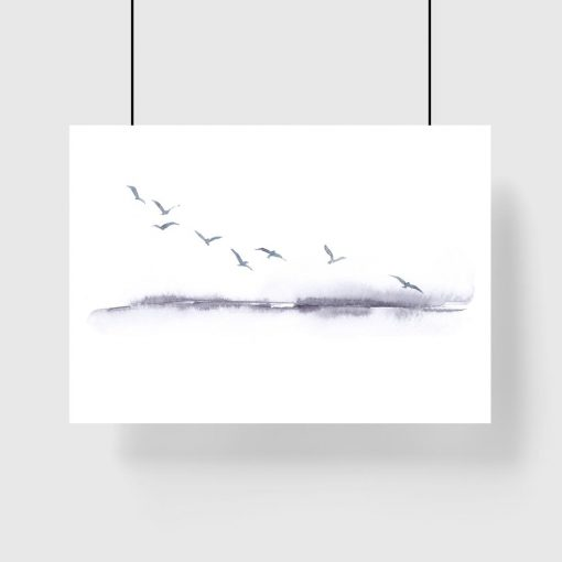 plakat czarno-biały krajobraz