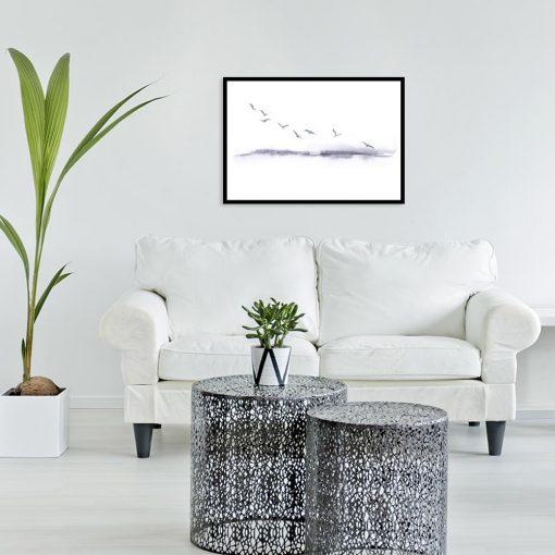 plakat z krajobrazem i ptakami
