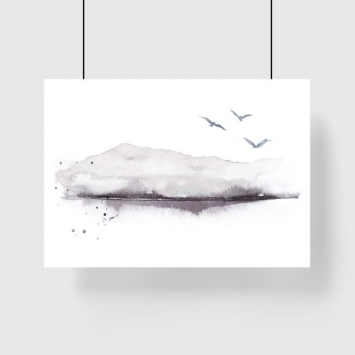 plakat z czarno-białym krajobrazem