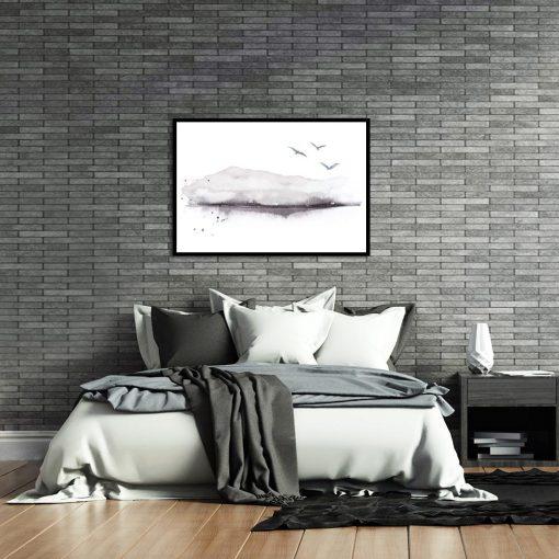 czarno-biały plakat nad łóżko