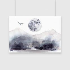 plakat z górami, księżycem i ptakiem