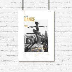plakat zdjęcie baletnicy i napisy