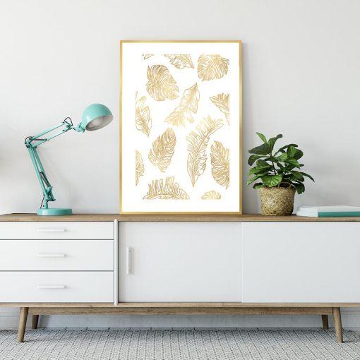 Biało-złoty plakat w liście