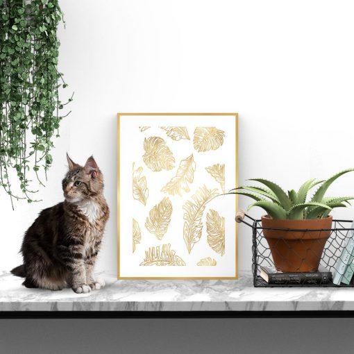 Pozłacany plakat z motywem liści