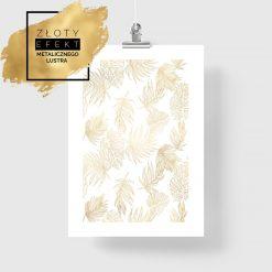 Plakat pozłacany z motywem złotych liści