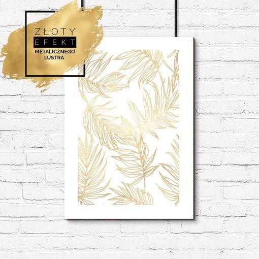 Plakat złoty liście palmy