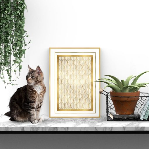 Plakat złoty w geometryczne wzory