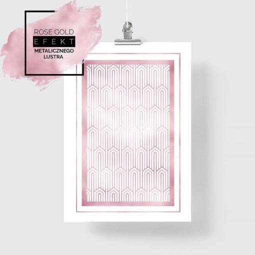 Plakat różowe złoto wzory