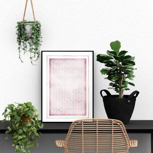 Różowo-złoty plakat w geometryczne wzory