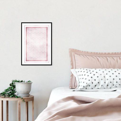 Plakat art deco w kolorze różowego złota